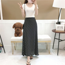 skirt Spring 2021 S,M,L,XL,2XL black longuette Versatile High waist A-line skirt Dot 25-29 years old 81% (inclusive) - 90% (inclusive) Chiffon Cellulose acetate 181g / m ^ 2 (including) - 200g / m ^ 2 (including)