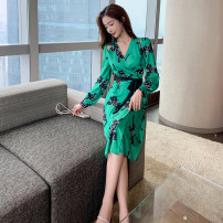 Dress Summer 2021 green S,M,L,XL Middle-skirt singleton  Long sleeves commute V-neck High waist Decor other One pace skirt routine Breast wrapping Type A Korean version Printing, stitching, lace up, bandage, printing / dyeing other silk