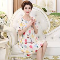Nightdress Teng song One size fits all (115-160 kg) Sweet Short sleeve Middle-skirt summer Cartoon animation Crew neck viscose  printing Rayon / cotton / cotton
