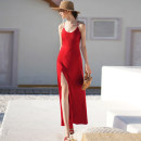 Dress Summer 2020 claret S. M, l, have registered in the copyright platform, the theft must be investigated! , private customization plus 120 yuan longuette singleton  Sleeveless street Crew neck High waist Solid color zipper camisole 25-29 years old Type X ME&MOEIN D0592 Europe and America