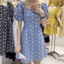 Dress Summer 2020 Blue, black, white S,M,L Short sleeve square neck puff sleeve Type X