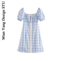 Dress Summer 2020 Princess Blue S,M,L Short skirt singleton  Short sleeve commute square neck High waist lattice zipper Princess Dress puff sleeve 18-24 years old Type A Retro