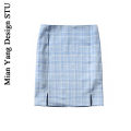 skirt Summer 2020 S,M,L Clear water blue, grass green Short skirt Versatile High waist A-line skirt lattice Type A 18-24 years old