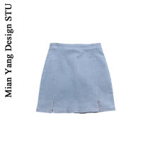 skirt Summer 2020 XS,S,M,L Light blue, dark blue Short skirt commute High waist A-line skirt Solid color Type A 18-24 years old Retro