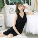 Nightdress Other / other Grey with bra, black with bra, pink with bra, purple with bra Average size (80-125 kg recommended) Sweet Sleeveless pajamas longuette summer Solid color youth V-neck viscose  Frill decoration More than 95% Modal fabric 200g and below