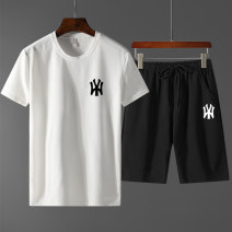 T-shirt Fashion City White, black, yellow, gray thin M,L,XL,2XL,3XL,4XL Others Short sleeve Crew neck easy daily summer middle age routine Basic public other 2021 Solid color printing polyester fiber Brand logo No iron treatment International brands More than 95%