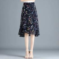 skirt Summer 2021 M,L,XL,2XL,3XL,4XL Blue flower, black chrysanthemum, pure black, black dot Mid length dress commute High waist Ruffle Skirt Broken flowers Type A 25-29 years old polyester fiber Ruffle, print Korean version