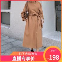 woolen coat Autumn 2020 S, M Black, camel, cocoa wool 95% and above Medium length Long sleeves commute Single breasted routine tailored collar Solid color Self cultivation Korean version 25-29 years old Frenulum Solid color