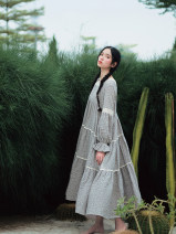 Dress Autumn 2020 Broken grey flowers One size fits all, warm tips: no belt! Mid length dress singleton  Long sleeves commute square neck High waist Broken flowers Socket Cake skirt routine Others 25-29 years old Type H Pillow dream Village Retro A0324 More than 95% cotton