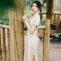 Dress Summer 2020 Stripes (cheongsam) S,M,L Mid length dress singleton  Short sleeve commute stand collar stripe zipper other Petal sleeve Others 30-34 years old Type A Pillow dream Village Retro A0274 More than 95% other hemp