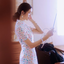 Dress Summer of 2019 Color dots S,M,L Mid length dress singleton  Short sleeve commute stand collar middle-waisted Dot zipper One pace skirt routine Others 25-29 years old Type H Pillow dream Village Retro More than 95% other hemp