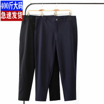 Suit pants / suit pants XL,2XL,3XL,4XL,5XL Black thin, Navy thin, black plush, Navy Plush Autumn of 2019 Straight cylinder High waist trousers routine Self made pictures 30-34 years old 81% (inclusive) - 90% (inclusive) cotton Cotton blended fabric Simplicity