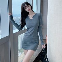 Dress Spring 2021 Gray, black S,M,L Short skirt singleton  Long sleeves commute V-neck High waist Solid color Socket One pace skirt routine Others 18-24 years old Type X Korean version Fold, chain 51% (inclusive) - 70% (inclusive) brocade cotton