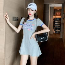 Dress Summer 2021 Gray, black S code, M code Miniskirt singleton  Short sleeve commute Crew neck middle-waisted letter Socket Big swing routine Others 18-24 years old Type A Korean version printing 31% (inclusive) - 50% (inclusive) brocade cotton