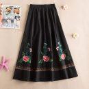 skirt Summer 2021 Average size Black, red, blue longuette commute Natural waist Type A hemp Embroidery, pocket Retro