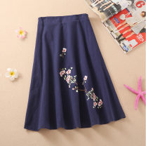 skirt Summer 2020 One size fits all (elastic waist) navy blue Middle-skirt Versatile Natural waist A-line skirt other Type A 31% (inclusive) - 50% (inclusive) other hemp Embroidery