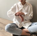 shirt White, gray blue L,M,S Spring 2020 polyester fiber 96% and above Long sleeves Versatile Medium length other Single row multi button routine Solid color Straight cylinder Button