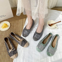 Low top shoes 35,36,37,38,39,40 Emperor swallow Grey, apricot, green Round head Sequin cloth Flat heel Low heel (1-3cm) Shallow mouth cloth Summer 2021 Trochanter Simplicity Adhesive shoes Youth (18-40 years old) Solid color rubber Single shoes Microfiber skin daily Face dressing