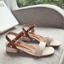 Sandals 35,36,37,38,39 Beige, apricot, beige upgrade, apricot upgrade PU Emperor swallow Barefoot Thick heel Middle heel (3-5cm) Spring of 2019 Flat buckle leisure time Solid color Adhesive shoes Youth (18-40 years old) rubber daily Back space Roman style, ankle band Low Gang Lateral space PU PU