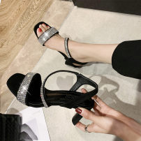 Sandals 35,36,37,38,39,40 Black, blue PU Emperor swallow Barefoot Thick heel High heel (5-8cm) Summer 2021 Trochanter Korean version Solid color Adhesive shoes Youth (18-40 years old) rubber daily Back space Low Gang Lateral space PU Microfiber skin Roman shoes Shaving