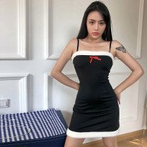 Dress Winter 2020 black S,M,L Short skirt singleton  Sleeveless street One word collar High waist Solid color Socket One pace skirt other camisole 18-24 years old Type H dulzura D0B3918H 81% (inclusive) - 90% (inclusive) polyester fiber Europe and America