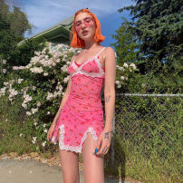 Dress Summer of 2019 Pink S,M,L Short skirt singleton  Sleeveless street V-neck middle-waisted Dot Socket Pencil skirt other camisole 18-24 years old Type H dulzura HMS-1734464 81% (inclusive) - 90% (inclusive) other polyester fiber Europe and America