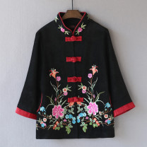 Middle aged and old women's wear Spring 2021, autumn 2021 black L,XL,XXL,XXXL,4XL ethnic style short coat easy singleton  Flower and bird pattern 50-59 years old Cardigan moderate stand collar have cash less than that is registered in the accounts routine Other / other Embroidery other 96% and above