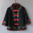 Middle aged and old women's wear Spring 2021, autumn 2021 Black, red, green L,XL,XXL,XXXL,4XL ethnic style short coat easy singleton  Decor 40-49 years old Cardigan moderate stand collar have cash less than that is registered in the accounts routine 1961# Other / other Embroidery other 96% and above