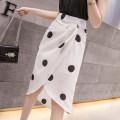 skirt Spring 2021 S,M,L,XL White, black longuette commute High waist A-line skirt Dot Type A 18-24 years old H 31% (inclusive) - 50% (inclusive) Chiffon polyester fiber zipper Korean version