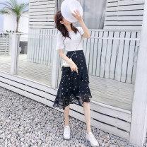 skirt Spring 2021 S,M,L,XL,2XL Purplish red, black stars, broken flowers, polka dots longuette commute High waist A-line skirt Decor Type A 18-24 years old 81% (inclusive) - 90% (inclusive) Chiffon zipper Korean version