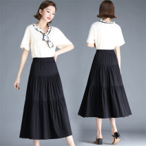 skirt Spring 2021 4XL,3XL,2XL,XL,L,M black Mid length dress Versatile High waist Solid color Type A 35-39 years old Cellulose acetate Splicing