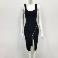 Dress Summer of 2019 black XS,S,M,L Middle-skirt singleton  Sleeveless street V-neck Elastic waist zipper One pace skirt routine camisole Type X knitting Europe and America