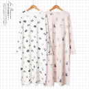 Nightdress Other / other Pink, white Average size Simplicity Long sleeves Leisure home Middle-skirt spring Cartoon animation youth Crew neck cotton printing More than 95% pure cotton