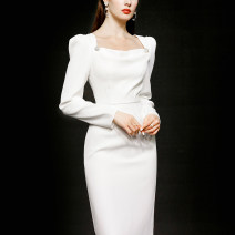 Dress Spring 2021 White (5-7 days delivery), white (in stock) S,M,L,XL longuette singleton  Long sleeves street Dangling collar High waist Solid color zipper other other Others 25-29 years old Type X Duffy fashion Pleats, buttons, zippers M22540 More than 95% other polyester fiber Europe and America