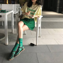 Fashion suit Summer 2021 Average size Yellow T-shirt, green skirt s, green skirt M 2799# 96% and above cotton