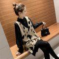 Dress Maternity jacket Black (two-piece jacket), apricot (two-piece jacket), black (two-piece jacket) + thin pantyhose, apricot (two-piece jacket) + thin pantyhose, black (two-piece jacket) + thickened pantyhose, apricot (two-piece jacket) + thickened pantyhose M,L,XL,XXL Korean version Long sleeves