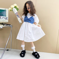 Dress White + blue female Other / other Other 100% summer leisure time Short sleeve other cotton A-line skirt W2531 14, 3, 5, 9, 12, 7, 8, 6, 13, 11, 4, 10 Chinese Mainland