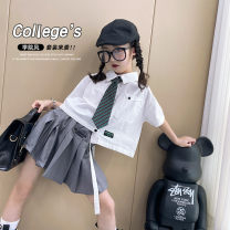 suit Other / other White + grey female summer leisure time Short sleeve + skirt 2 pieces There are models in the real shooting Single breasted nothing other cotton children Giving presents at school W2535 7, 8, 14, 6, 13, 11, 5, 4, 10, 9, 12, 3 Chinese Mainland