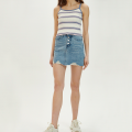 skirt Summer 2021 S,M,L wathet Short skirt Versatile High waist A-line skirt Solid color Type A 25-29 years old KTF20X622 91% (inclusive) - 95% (inclusive) Denim Knit time cotton Make old