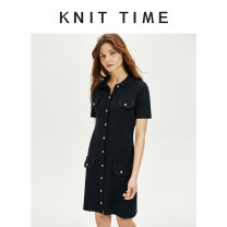 Dress Summer 2020 black S,M,L Mid length dress singleton  Short sleeve street square neck Solid color Single breasted A-line skirt routine 25-29 years old Knit time Button KTF20X101 51% (inclusive) - 70% (inclusive) nylon Europe and America