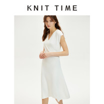 Dress Spring 2020 White, Avocado Green Average size Mid length dress singleton  commute V-neck Elastic waist Solid color Socket A-line skirt Type A Knit time Simplicity Asymmetry KTF20X631 51% (inclusive) - 70% (inclusive)