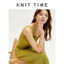 Dress Summer 2020 Khaki, Avocado Green Average size Mid length dress singleton  commute square neck High waist Solid color Socket A-line skirt camisole 25-29 years old Type A Knit time Simplicity KTF20X628 31% (inclusive) - 50% (inclusive) knitting