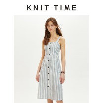 Dress Summer 2020 Blue stripe S,M,L Mid length dress singleton  Sleeveless street One word collar High waist stripe Single breasted A-line skirt camisole 25-29 years old Knit time Button 30% and below cotton Europe and America