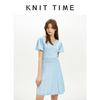 Dress Summer 2020 Haze blue S,M,L Mid length dress singleton  Short sleeve street V-neck High waist zipper One pace skirt puff sleeve 25-29 years old Type A Knit time KTF20X911 31% (inclusive) - 50% (inclusive) nylon Europe and America