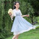 Hanfu 96% and above Summer 2021 Light blue green pink 19818 light blue long sleeve S M L XL polyester fiber
