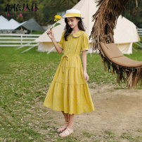 Dress Summer 2021 yellow S M L XL longuette singleton  Short sleeve Sweet Doll Collar Loose waist Dot Socket Big swing routine Others Under 17 Bouyei jungle More than 95% other polyester fiber Polyester 100% college Pure e-commerce (online only)