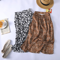 skirt Summer 2021 Average size Black ink painting, coffee Leopard Pattern High waist Q1356 More than 95% Made by Xiaoer other