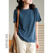 T-shirt black , wathet , white , Royal Blue , Pink , orange , Grey blue , Soot M, L Summer 2021 commute hemp 51% (inclusive) - 70% (inclusive) Made by Xiaoer T2032
