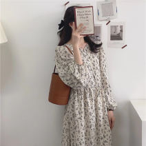Dress Autumn 2020 white Average size longuette singleton  Long sleeves commute V-neck High waist Broken flowers Socket A-line skirt routine Others 18-24 years old Type A Korean version 31% (inclusive) - 50% (inclusive) Chiffon polyester fiber
