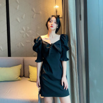 Dress Summer 2020 black S,M,L Mid length dress singleton  elbow sleeve commute V-neck High waist Solid color zipper A-line skirt puff sleeve Others Type A Retro Lace up, stitching 31% (inclusive) - 50% (inclusive) other cotton